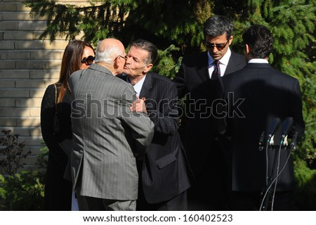 Belgrade, Serbia - October 26, 2013: Family of Jovanka and Tito's at the funeral of Jovanka Broz. Jovanka Broz, Yugoslavia's former First Lady built by her husband Josip Broz Tito in the House of Flowers mausoleum.