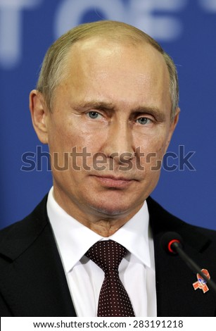 BELGRADE, SERBIA - OCTOBER 16, 2014: Russian president Vladimir Putin speaks at press conference during official visit to Serbia, on October 16, 2014 in Belgrade - stock photo