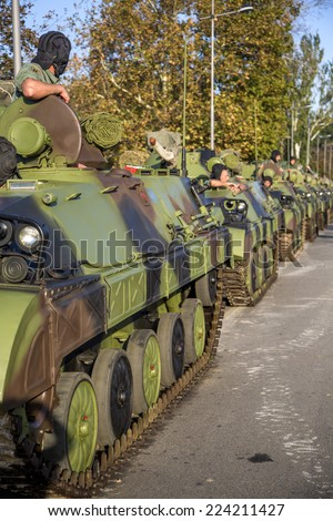 BELGRADE, SERBIA, OCTOBER 10, 2014: Unidentified soldiers in Infantry Fighting Vehicles of Serbian Armed Forces. Soldiers are preparing for marking the 70th anniversary of Belgrade liberation in WWII.