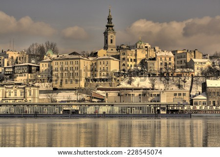 Belgrade, Serbia old town from the river Sava. Retro filtered image + HDR.  - stock photo