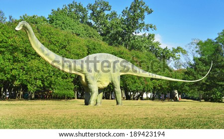 BELGRADE, SERBIA-SEPTEMBER 30: Diplodocus, replicas of a dinosaurs in natural size at museum on September 30, 2011 in Belgrade, Serbia.  - stock photo