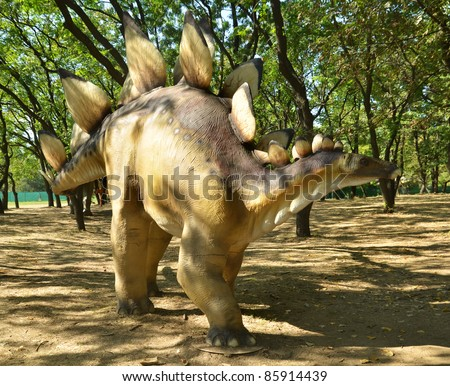 BELGRADE, SERBIA-SEPTEMBER 30:  Stegosaurus, replicas of a  dinosaurs in natural size reconstructed according to the latest scientific discoveries at museum on September 30, 2011 in Belgrade, Serbia.