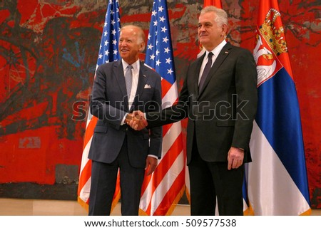 Belgrade, Serbia. 16th August, 2016. Meeting of the President of the Republic of Serbia, Tomislav Nikolic and US Vice President Joseph 'Joe' Biden in Belgrade