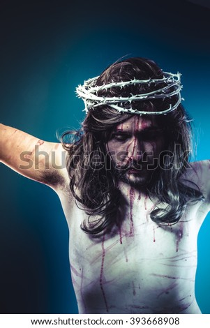 Belief, Easter jesus christ, son of god representation with crown of thorns and wounds of Calvary skin - stock photo
