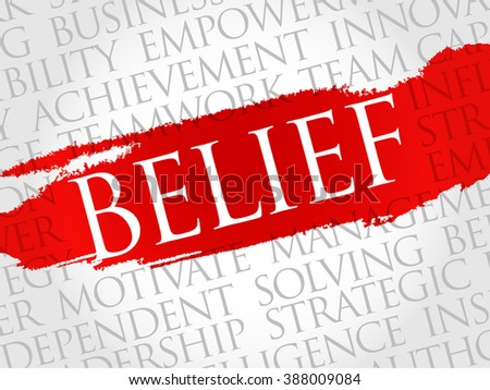 BELIEF word cloud, business concept - stock photo