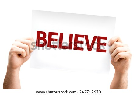 Believe card isolated on white background - stock photo