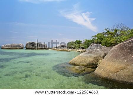 Belitung's beach and the blue sky - stock photo