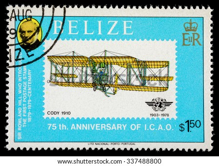 "BELIZE - CIRCA 1979: Postage stamp ""CODY 1010"" from the series ""75 anniversary of the ICAO"""