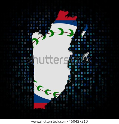 Belize map flag on hex code 3d illustration - stock photo