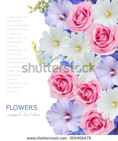 Bell and rose flowers background isolated on white with sample text - stock photo