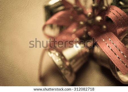 Bell christmas decorations on mulberry paper texture for background