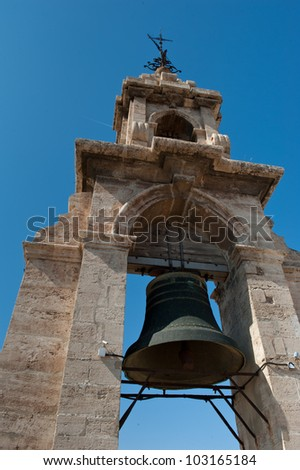 Bell of the Micalet bell tower cathedral in Valencia, Spain. - stock photo