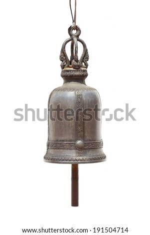 Bell on a isolated white background,Bells in Temple Thailand - stock photo