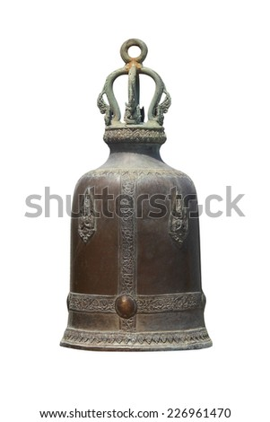 Bell on a isolated white background, Buddhist bell - stock photo
