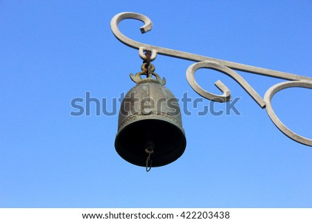 Bell on Blue background - stock photo