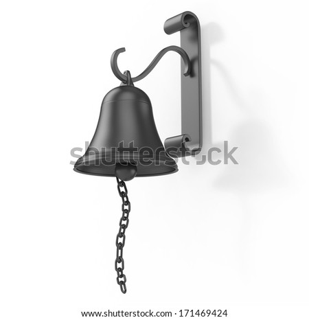 bell on the wall 3d illustration