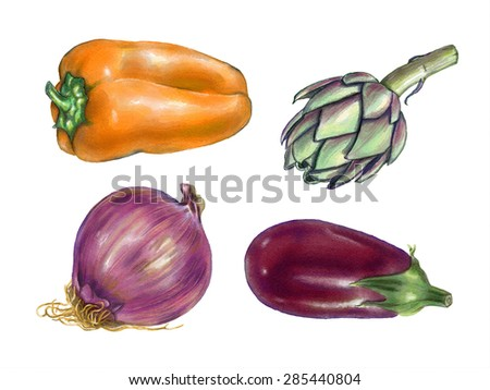 Bell pepper, artichoke, onion and eggplant watercolor. Original illustration. - stock photo