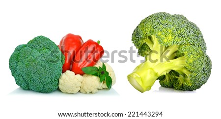 Bell pepper, cauliflower and broccoli isolated on white background. Collage - stock photo