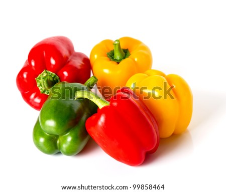 bell pepper mix on white background - stock photo