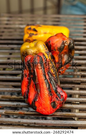 Bell pepper on the grill of a barbecue - stock photo