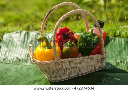 Bell pepper, sweet drinks and juice as well on basket