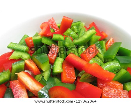 Bell Peppers Chopped - stock photo