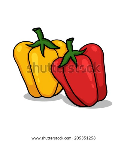 Bell Peppers Illustration; Red Pepper and Yellow Pepper - stock photo