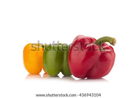 bell peppers isolated on white background. - stock photo