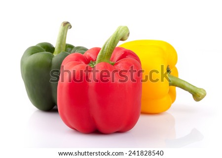 bell peppers or capsicum isolated on white background  - stock photo