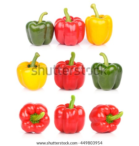 bell peppers or capsicum isolated on white background