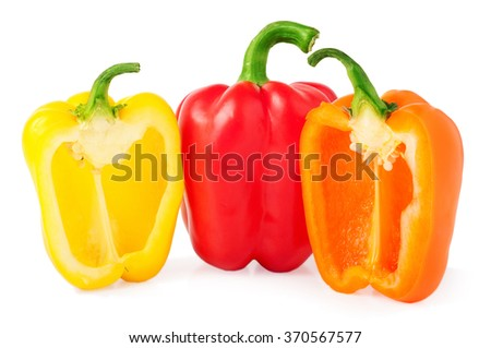 bell peppers with half isolated on white.