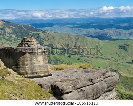 Bell Rock in Maungaharuru Range overlooking Hawke Bay, North Island, New Zealand - stock photo