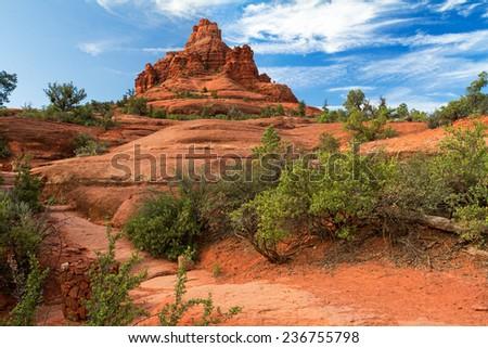 Bell Rock next to Sedona, Arizona - stock photo