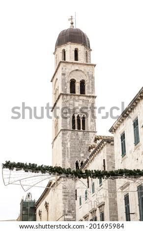 Bell Tower and Sponza's palace in Dubrovnik. - stock photo