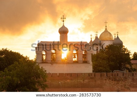 Bell Tower and St Sophia cathedral in Veliky Novgorod, Russia - stock photo