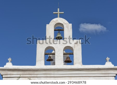 Bell Tower At San Xavier Mission In Tucson Arizona - stock photo