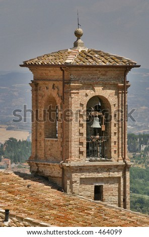 Bell tower in Perugia - stock photo