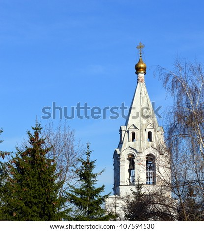 Bell tower of an ancient orthodoxal church in Kolomenskoe, Moscow