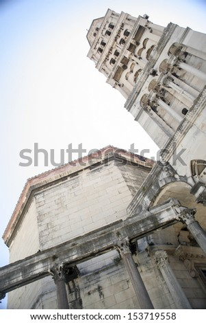 Bell tower of Cathedral of Saint Dominus (St Duje) in Diocletian palace, Split, Croatia - stock photo