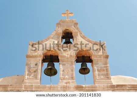 Bell tower of historic Preveli monastery, Crete, Greece - stock photo