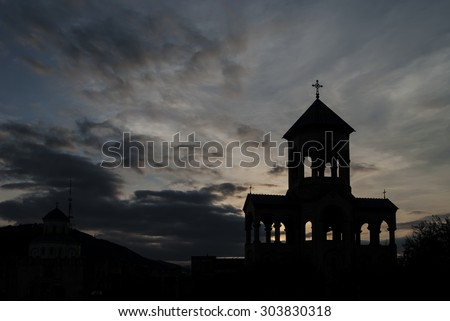 Bell tower of Holy Trinity Cathedral of Tbilisi - stock photo