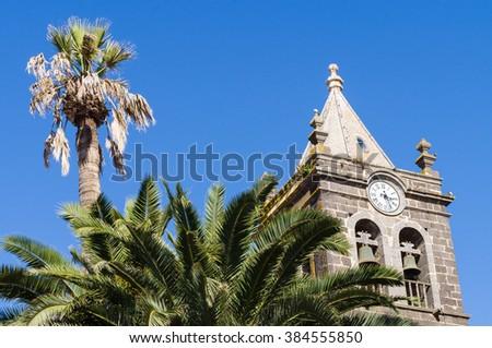 Bell tower of Monastery of San Agustin, La Laguna, Tenerife, Canary Islands, Spain - stock photo