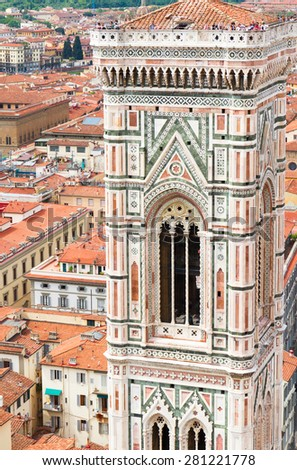 bell tower of old town with cathedral church Santa Maria del Fiore, Florence, Italy - stock photo