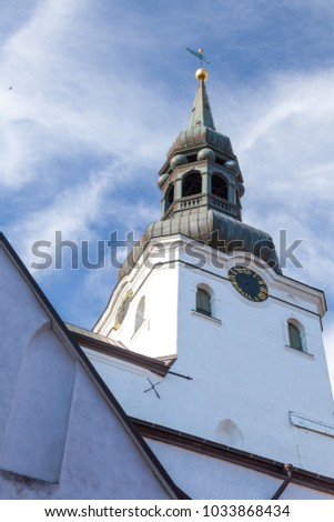 Bell tower of Saint Mary Cathedral is a church built 14th century, located on Toompea Hill in Tallinn, Estonia