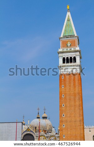 Bell tower of St. Mark's Basilica in Venice, Italy,