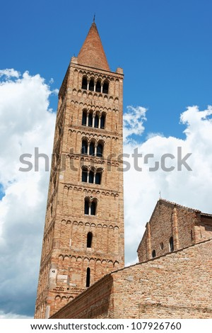 Bell tower of the Church of Pomposa Abbey, a Benedictine monastery near Ferrara, Italy. It's first settlement probably dates back in 7th o 9th century. The church is dedicated to Saint Mary.
