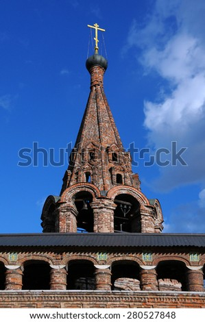 Bell tower of the Krutitsy Patriarchal Metochion in Moscow, Russia - stock photo