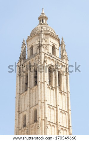 Bell tower of the Segovia Cathedral . It is a Roman Catholic religious church in Segovia, Spain, it is dedicated to the Virgin Mary - stock photo
