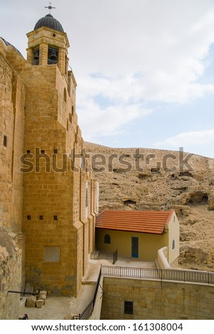 Bell tower on inner territory of Saint Sabba (Mar Saba) Monastery near Jerusalem  - stock photo