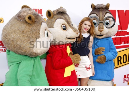 Bella Thorne at the Los Angeles premiere of 'Alvin And The Chipmunks: The Road Chip' held at the Zanuck Theater in Los Angeles, USA on December 12, 2015. - stock photo